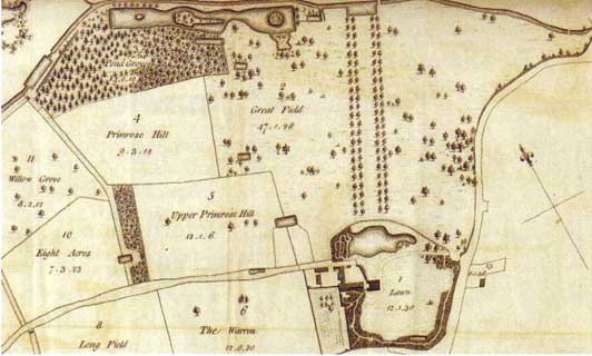 Sale map of the Forty Hall estate 1773