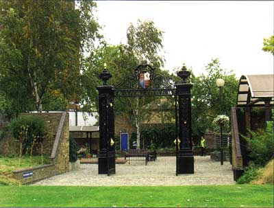 Cremorne Gardens, Chelsea:the restored and relocated gates of the original Cremorne Gardens in the modern park of the same name (Hazelle Jackson)