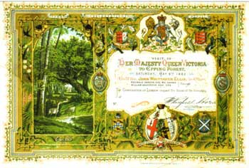Illuminated certificate of invitation to the opening of Epping Forest by Queen Victoria, Saturday 6th May, 1882