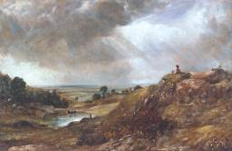 Branch Hill Pond, Hampstead Heath, with a Boy Sitting on a Bank - John Constable c. 1825