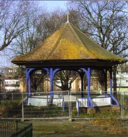 The fenced off Edwardian bandstand at Ruskin Park awaiting repairs