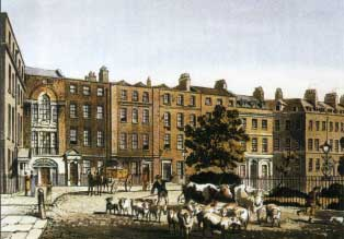 J.B. Papworth, Soho Square, aquatint from 'Select Views of London' (1816),