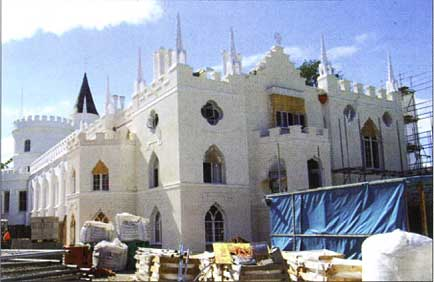Strawberry Hill House under repair in the summer of 2010