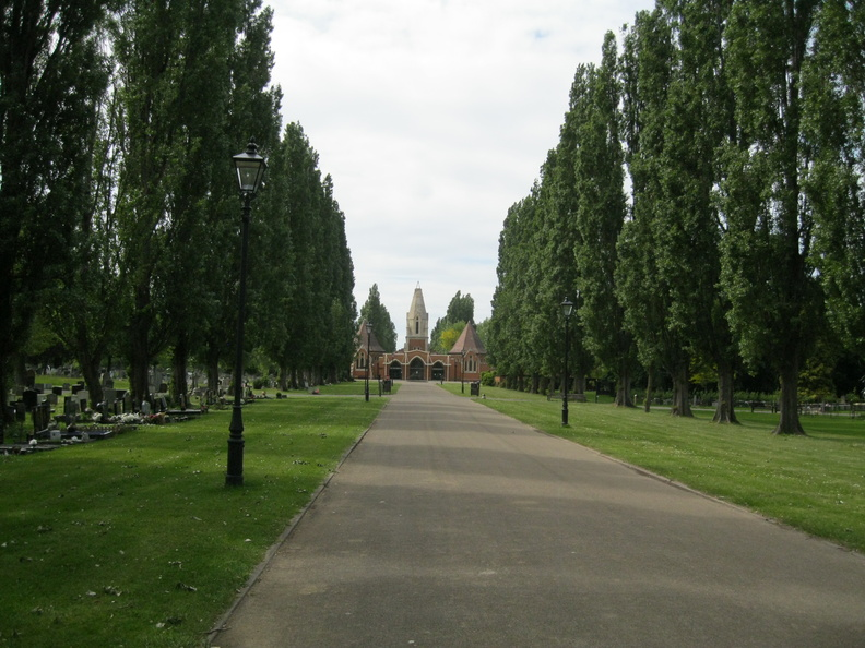 Morden Cemetery - avenue, chapels and crematorium