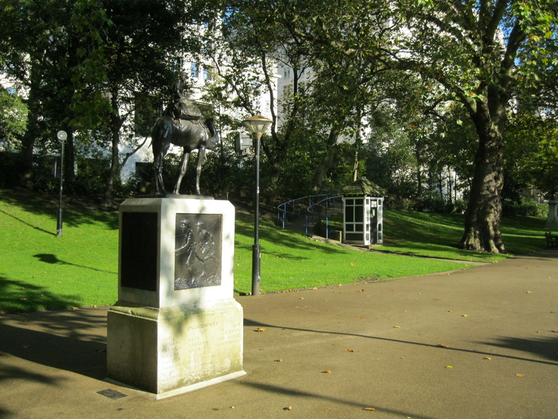 Victoria Embankment Gardens - Camel Corps monument and shed